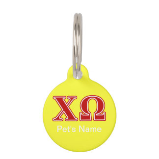 Chi Omega Red Letters Pet Tags