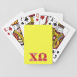 "Chi Omega Red Letters Playing Cards<br><div class=""desc"">Check out these official Chi Omega designs! Personalize your own Greek merchandise on Zazzle.com! Click the Customize button to insert your own name, class year, or club to make a unique product. Try adding text using various fonts &amp; view a preview of your design! Zazzle&#39;s easy to customize products have...</div>"