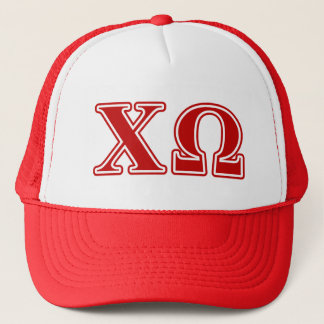 Chi Omega Red Letters Trucker Hat