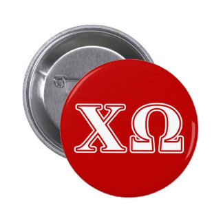 Chi Omega White and Red Letters 2 Inch Round Button