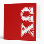 Chi Omega White and Red Letters Binder