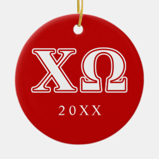 Chi Omega White and Red Letters Double-Sided Ceramic Round Christmas Ornament