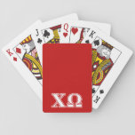 "Chi Omega White and Red Letters Playing Cards<br><div class=""desc"">Check out these official Chi Omega designs! Personalize your own Greek merchandise on Zazzle.com! Click the Customize button to insert your own name, class year, or club to make a unique product. Try adding text using various fonts &amp; view a preview of your design! Zazzle&#39;s easy to customize products have...</div>"