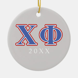Chi Phi Blue and Red Letters Ceramic Ornament