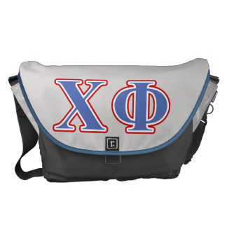 Chi Phi Blue and Red Letters Messenger Bags