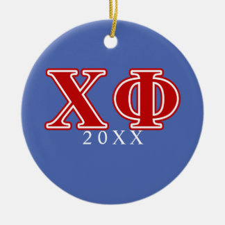Chi Phi Red Letters Ceramic Ornament