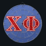 """Chi Phi Red Letters Dartboard<br><div class=""""desc"""">Check out these official Chi Phi designs! Personalize your own Greek merchandise on Zazzle.com! Click the Customize button to insert your own name, class year, or club to make a unique product. Try adding text using various fonts &amp; view a preview of your design! Zazzle&#39;s easy to customize products have...</div>"""