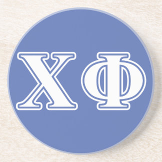 Chi Phi White and Blue Letters Coaster