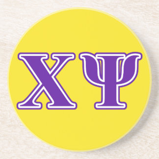 Chi Psi Purple Letters Drink Coaster