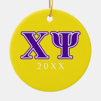 Chi Psi Purple Letters Ornament
