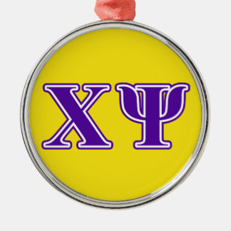 Chi Psi Purple Letters Christmas Ornament