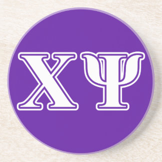 Chi Psi White and Purple Letters Drink Coaster