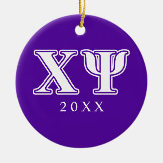Chi Psi White and Purple Letters Christmas Tree Ornament