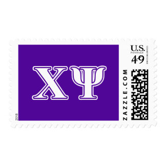 Chi Psi White and Purple Letters Postage