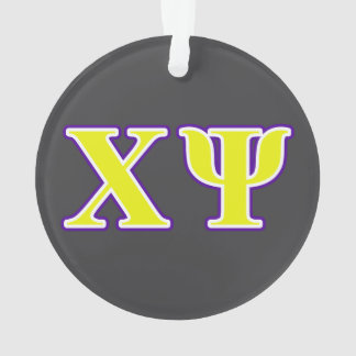Chi Psi Yellow and Purple Letters