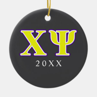Chi Psi Yellow and Purple Letters Ornaments