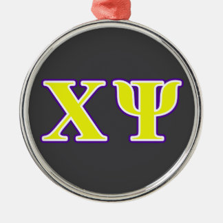 Chi Psi Yellow and Purple Letters Christmas Ornament