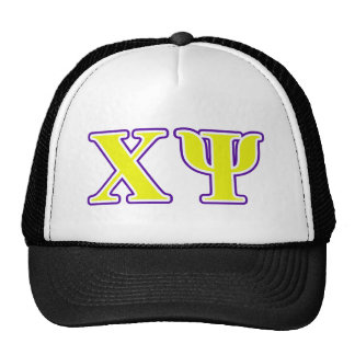 Chi Psi Yellow and Purple Letters Trucker Hat