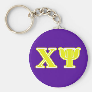Chi Psi Yellow Letters Keychain