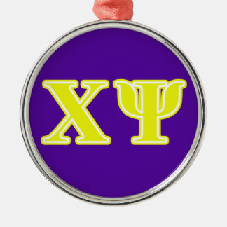 Chi Psi Yellow Letters Christmas Tree Ornament