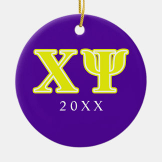 Chi Psi Yellow Letters Ornaments