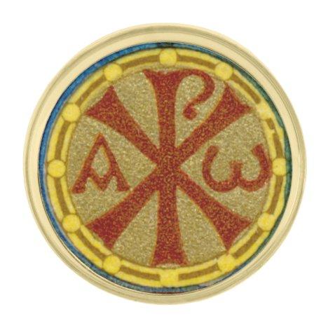 Chi Rho / Alpha Omega Medallion from SNV 36 Gold Finish Lapel Pin