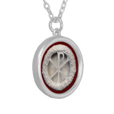Chi-Rho Monogram Silver Plated Necklace