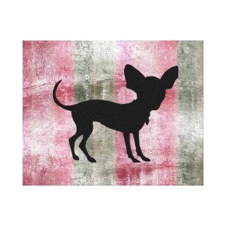 Chi Silhouette on Raspberry Chocolate Striper Canvas Print