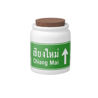 Chiang Mai Ahead ⚠ Thai Highway Traffic Sign ⚠ Candy Dish