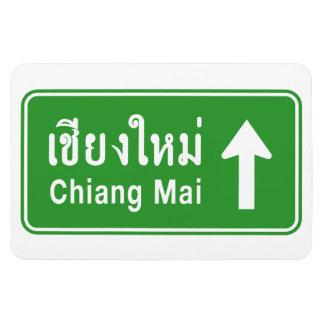 Chiang Mai Ahead ⚠ Thai Highway Traffic Sign ⚠ Rectangular Photo Magnet