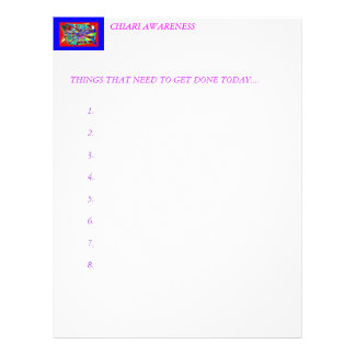 CHIARI AWARENESS NOTE PAD. LETTERHEAD
