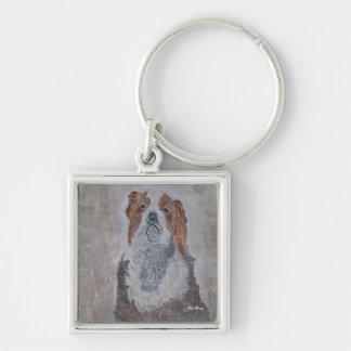 CHIARI DOG Silver-Colored SQUARE KEYCHAIN