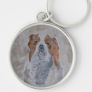 CHIARI DOG Silver-Colored ROUND KEYCHAIN