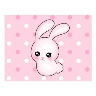 Chibi Anime Pink Easter Bunny Rabbit Postcard