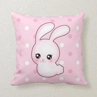 Chibi Anime Pink Easter Bunny Rabbit Throw Pillow