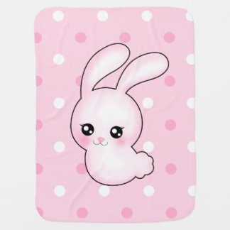 Chibi Anime Pink Easter Bunny Rabbit Swaddle Blankets