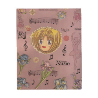 Chibi Ayame w/Iris Flowers Collage Wood Art Canvas