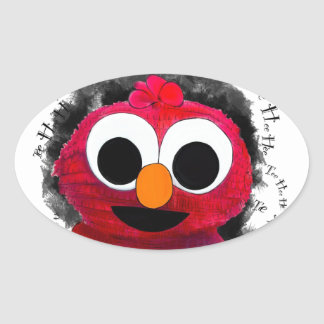 Chibi Baby Furry Monsta Oval Sticker