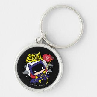 Chibi Batgirl listo para la acción Llavero Redondo Plateado