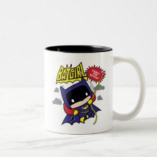 Chibi Batgirl Ready For Action Two-Tone Coffee Mug