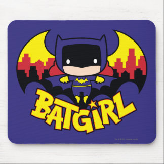 Chibi Batgirl With Gotham Skyline & Logo Mouse Pad