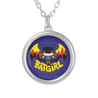 Chibi Batgirl With Gotham Skyline & Logo Silver Plated Necklace