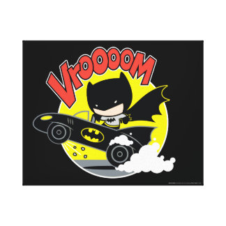 Chibi Batman In The Batmobile Canvas Print