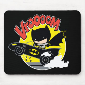 Chibi Batman In The Batmobile Mouse Pad