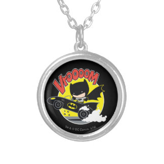 Chibi Batman In The Batmobile Silver Plated Necklace