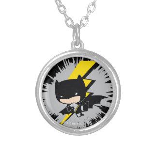 Chibi Batman Lightning Kick Silver Plated Necklace