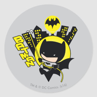 Chibi Batman Scaling The City Classic Round Sticker