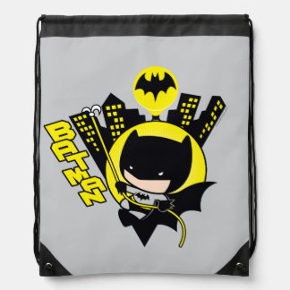 Chibi Batman Scaling The City Drawstring Backpack