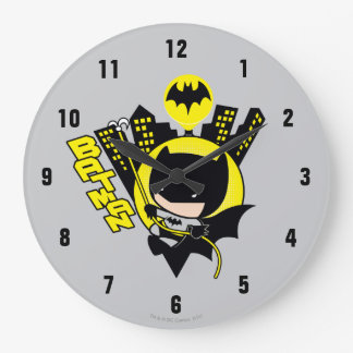 Chibi Batman Scaling The City Large Clock