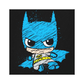 Chibi Batman Sketch Stretched Canvas Prints